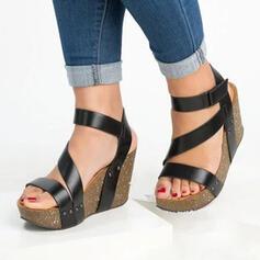 Femmes PU Talon compensé Sandales À bout ouvert avec Velcro chaussures