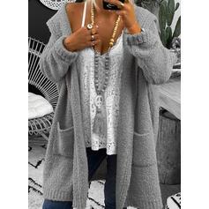 Jednobarevné Buzunar S kapucí Neformální Dlouhé Kardigan