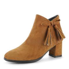 Femmes Suède Talon bottier Escarpins Bout fermé Bottes Bottines avec Bowknot Zip chaussures