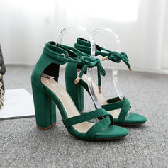 Women's Fabric Chunky Heel Sandals Pumps With Lace-up shoes