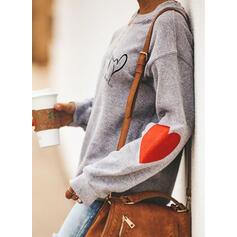 Print Figure Heart Round Neck Long Sleeves Sweatshirt