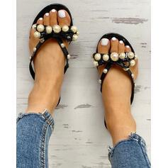 Frauen PVC Flascher Absatz Sandalen Peep Toe Pantoffel mit Nachahmungen von Perlen Schuhe