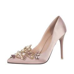 Femmes Soie Talon stiletto Escarpins avec Pearl chaussures