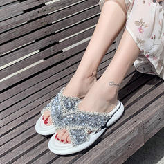 Women's Fabric Wedge Heel Sandals Wedges Peep Toe With Sequin shoes