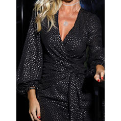 PolkaDot Long Sleeves Bodycon Above Knee Party/Elegant Dresses