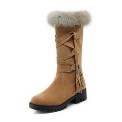 Femmes Suède Talon bas Bout fermé Bottes Bottes mi-mollets Bottes neige avec Dentelle Fausse Fourrure chaussures