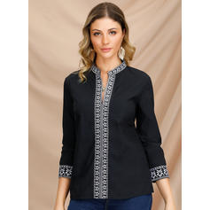 Solid V-Neck Long Sleeves Casual Shirt Blouses