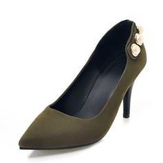 Dla kobiet Zamsz Obcas Stożek Czólenka Zakryte Palce Z Imitacja Pereł obuwie