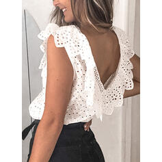 Backless Hollow-out Lace Solid V-Neck Sleeveless Tank Tops