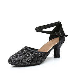 Women's Ballroom Heels Leatherette Sparkling Glitter With Ankle Strap Ballroom