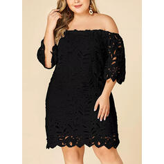 Lace/Solid 3/4 Sleeves Shift Knee Length Little Black/Casual Dresses