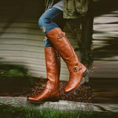Női PU Lapos sarok Lakások Csizma Térdig érő csizmák -Val Csat Cipzár cipő