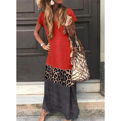Print Short Sleeves Shift Casual/Vacation Maxi Dresses