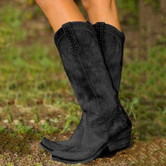 Women's PU Chunky Heel Pumps Closed Toe Boots Knee High Boots With Rivet shoes