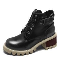 Vrouwen Kunstleer Chunky Heel Pumps Martin Boots met Klinknagel Vastrijgen schoenen