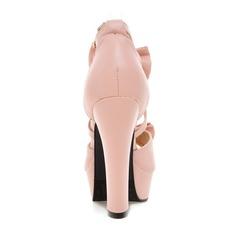 Women's Leatherette Chunky Heel Peep Toe Platform Pumps With Bowknot Buckle