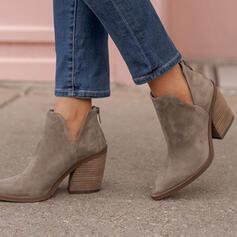 Pentru Femei Piele de Căprioară Toc gros Cizme cu Fermoar Culoare solida pantofi