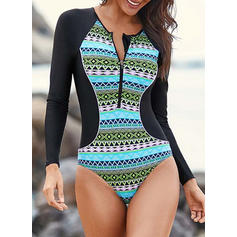 Long Sleeve Tropical Print Round Neck Sports One-piece Swimsuits