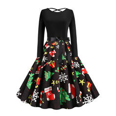 Print Long Sleeves A-line Knee Length Christmas/Party Skater Dresses