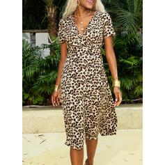 leopard Krátké rukávy Pouzdrové Neformální Midi Rochii