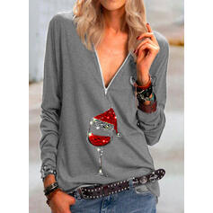 Print Sequins V-Neck Long Sleeves Casual Christmas Blouses