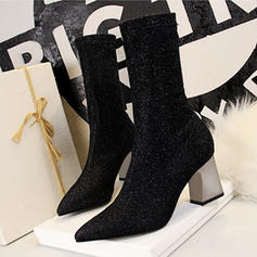 Women's Fabric Chunky Heel Pumps Closed Toe Boots Mid-Calf Boots With Sparkling Glitter shoes