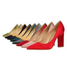 Women's Satin Chunky Heel Pumps Closed Toe shoes