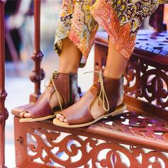 Femmes PU Talon plat Sandales À bout ouvert avec Zip Dentelle chaussures