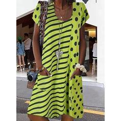 Print/PolkaDot/Striped Short Sleeves Shift Knee Length Casual/Vacation Tunic Dresses