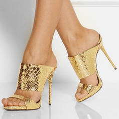 Kvinnor PU Stilettklack Sandaler Pumps Peep Toe Slingbacks skor