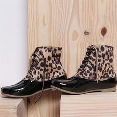 Vrouwen Patent Leather Low Heel Laarzen met Gesplitste Stof schoenen