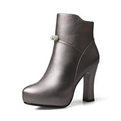 Femmes Similicuir Talon bottier Escarpins Bottines avec Brodé Zip chaussures