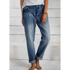 Sólido Largo Elegante shirred Pantalones Vaqueros