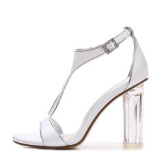 00c42e12b59 ... Women s Silk Like Satin Chunky Heel Peep Toe Pumps Sandals With Buckle  ...