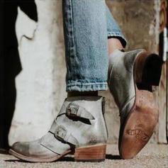 De mujer Cuero Tacón bajo Salón Botas con Hebilla Cremallera zapatos