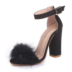 Women's Suede Chunky Heel Sandals Pumps With Faux-Fur shoes