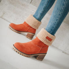 Women's Suede Chunky Heel Mid-Calf Boots With Others shoes