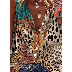 Leopardo Estampado Decote em V Sem mangas Regatas