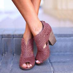 Women's PU Chunky Heel Sandals Peep Toe With Hollow-out shoes