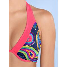 Drucken Neckholder Übergröße Retro Bikinis Bademode