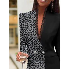 Lace/Leopard Long Sleeves Bodycon Above Knee Elegant Dresses