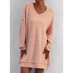 固体 長袖 シフトドレス 膝上 カジュアル スウェットシャツ ドレス