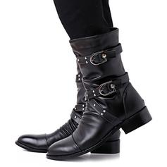 Women's Leatherette Chunky Heel Boots Mid-Calf Boots Martin Boots With Buckle shoes