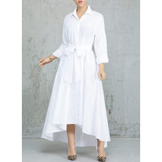 Solid Long Sleeves A-line Asymmetrical Casual/Elegant Dresses