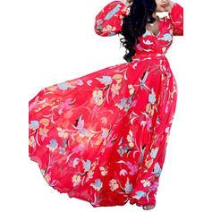 Print Long Sleeves A-line Maxi Vintage/Casual/Boho/Vacation Dresses