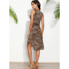 Leopard Sleeveless Sheath Knee Length Casual/Vacation Tank Dresses