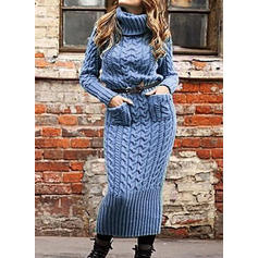 Solid Cable-knit Chunky knit Pocket Turtleneck Sweater Dress