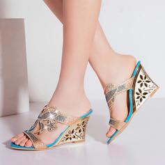 Naisten Keinonahasta Wedge heel Sandaalit jossa Tekojalokivi Ontto-out kengät