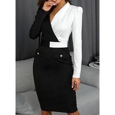 Color Block Long Sleeves Bodycon Knee Length Casual/Elegant Dresses