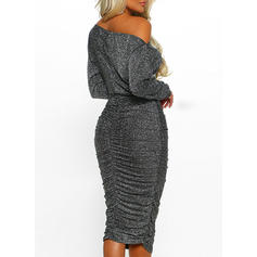Solid Long Sleeves Bodycon Party Midi Dresses